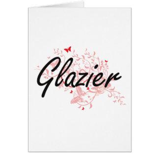 Glazier Artistic Job Design with Butterflies Card