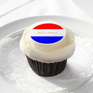Glazuur rond met Rood-Wit-Blauw Edible Frosting Rounds