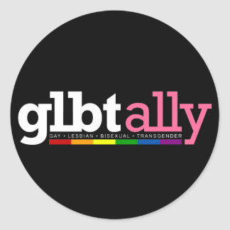 GLBT Ally Round Black Sticker