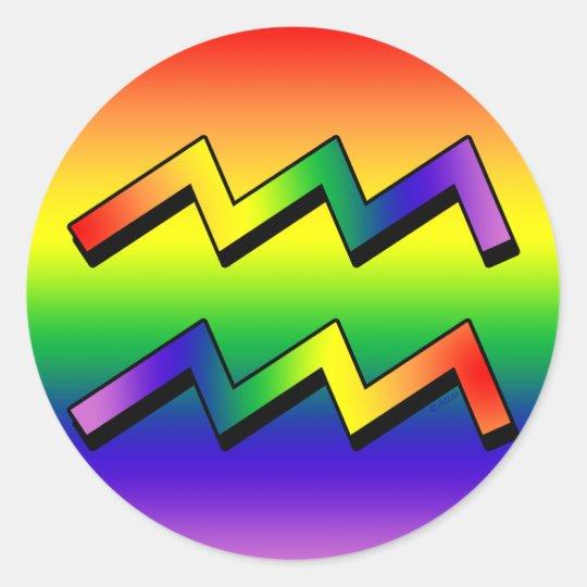 GLBT Aquarius w Classic Round Sticker