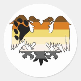GLBT Bear Pride Double-Headed Eagle Classic Round Sticker