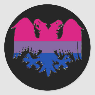 GLBT Biseuxal Pride Double-Headed Eagle Classic Round Sticker