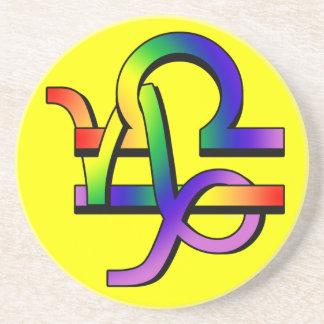 GLBT Capricorn & Libra Sandstone Coaster