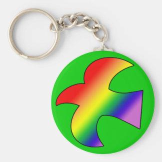 GLBT Dove Basic Round Button Keychain