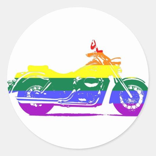 GLBT Motorcycle Pride Classic Round Sticker