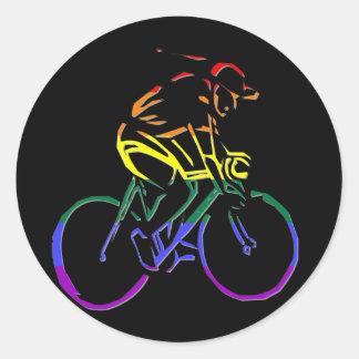 GLBT Pride Bicyclist Classic Round Sticker