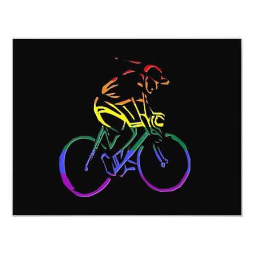 GLBT Pride Bicyclist 4.25x5.5 Paper Invitation Card