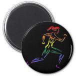 GLBT Pride Female Runner 2 Inch Round Magnet