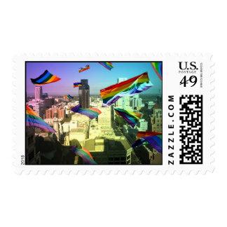 GLBT Pride Flags over Sacramento Postage Stamps