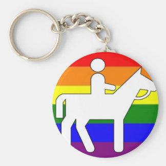 GLBT Pride Horseback Riding Keychain