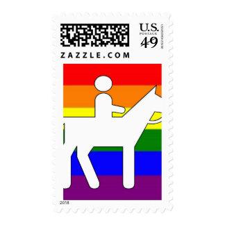 GLBT Pride Horseback Riding Postage Stamp