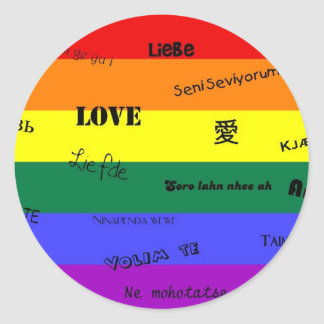 "GLBT Pride: ""Love"" in Many Languages Classic Round Sticker"