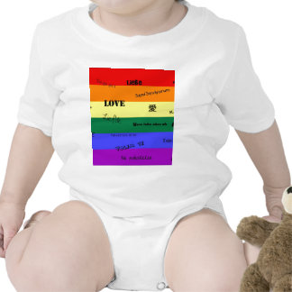 """GLBT Pride: """"Love"""" in Many Languages Baby Bodysuits"""