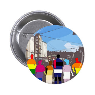 GLBT Pride People in the Castro #2 Pinback Button