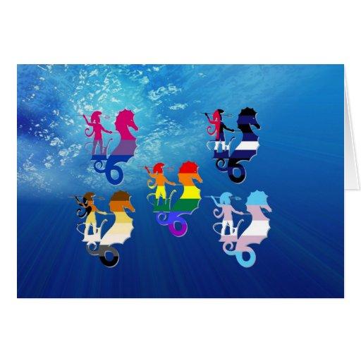 GLBT Pride School of Seahorses Card