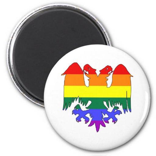 GLBT Rainbow Pride Double-Headed Eagle Magnet