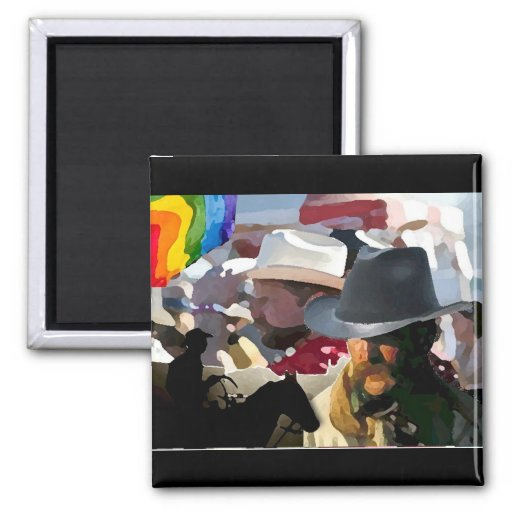 GLBT Rodeo Pride 2 Inch Square Magnet