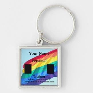 GLBTQ Rainbow Flag Personal Trainer Keychains