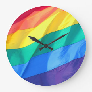GLBTQ Rainbow Large Clock