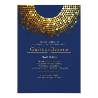 """Gleaming Grad Blue Invitation 5"""" X 7"""" Invitation Card"""