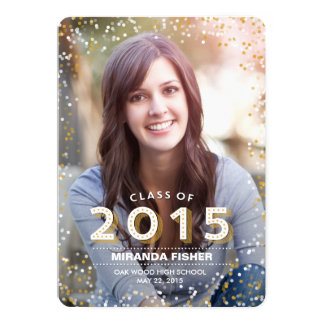 """Gleaming Grad Graduation Announcement Invitation 5"""" X 7"""" Invitation Card"""
