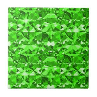 Gleaming Green Diamonds Small Square Tile
