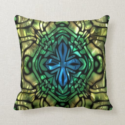Gold Blue Decorative Pillow : Gleaming Green Gold Blue Mosaic Throw Pillow Zazzle