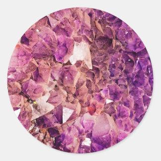 Gleaming Purple Geode Crystals Classic Round Sticker