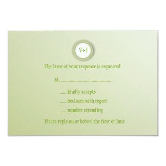 "Gleaming Soft Green Wedding RSVP Cards 3.5"" X 5"" Invitation Card"