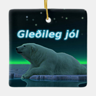 Gleðileg Jól - Ice Edge Polar Bear Ceramic Ornament