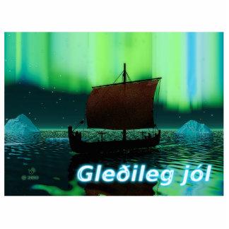 Gleðileg Jól - Viking Ship Under Northern Lights Statuette