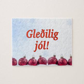 Gleðilig jól! Merry Christmas in Faroese rf Jigsaw Puzzle