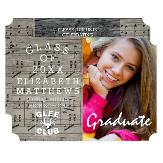 Glee Club Music Rustic Photo Graduation Card