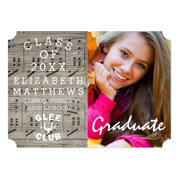 Glee Club Music Rustic Photo Graduation Card (back side)
