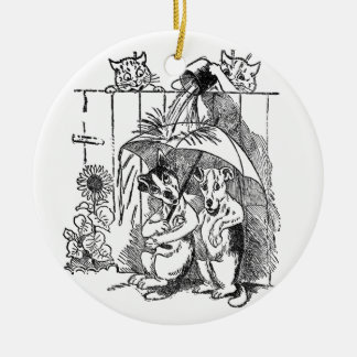 Gleeful Cats Douse Dogs Vintage Louis Wain Ceramic Ornament