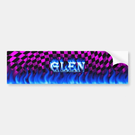 Glen blue fire and flames bumper sticker design.