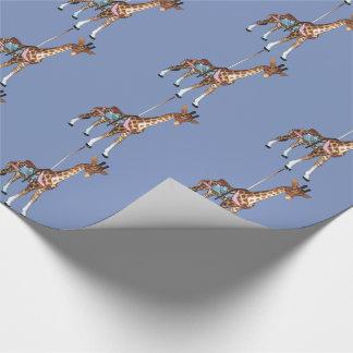 Glen Echo Giraffe - blue Wrapping Paper