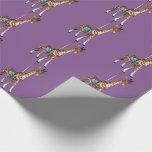 Glen Echo Giraffe - purple Wrapping Paper
