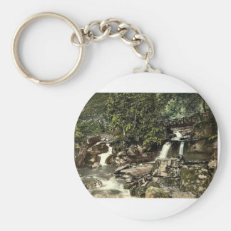 Glen Lyn., falls and upper bridge, Lynton and Lynm Basic Round Button Keychain