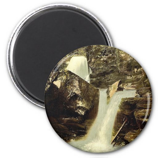 Glen Lyn., the upper falls, Lynton and Lynmouth, E 2 Inch Round Magnet
