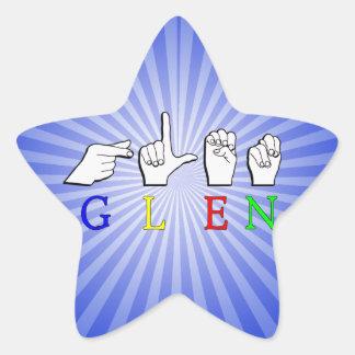 GLEN  NAME FINGERSPELLED ASL HAND SIGN STAR STICKER