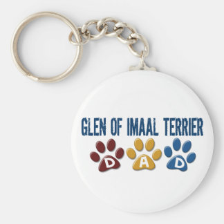 GLEN OF IMAAL TERRIER Dad Paw Print 1 Basic Round Button Keychain