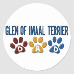 GLEN OF IMAAL TERRIER Dad Paw Print 1 Round Stickers