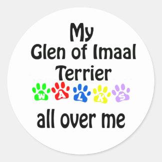 Glen of Imaal Terrier Walks Design Classic Round Sticker