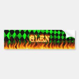Glen real fire and flames bumper sticker design