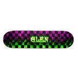 Glen skateboard green fire and flames design.