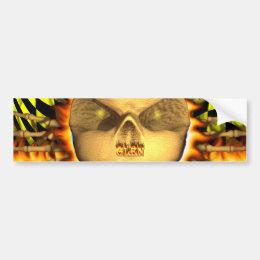 Glen skull real fire and flames bumper sticker des