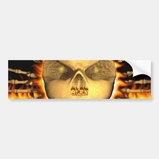 Glen skull real fire and flames bumper sticker des car bumper sticker