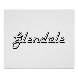 Glendale Arizona Classic Retro Design Poster