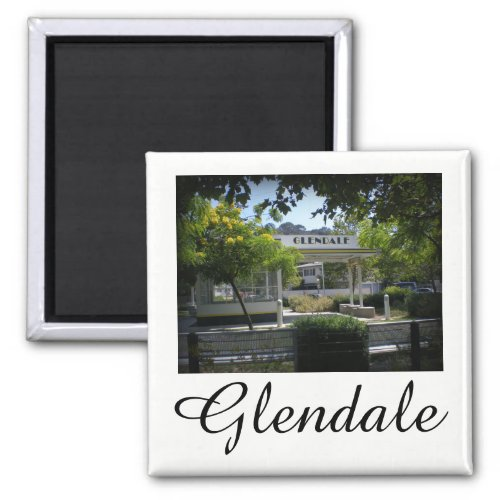 Glendale, California Adams Square 1930s Richfield Gas Station 2-inch Square Magnet